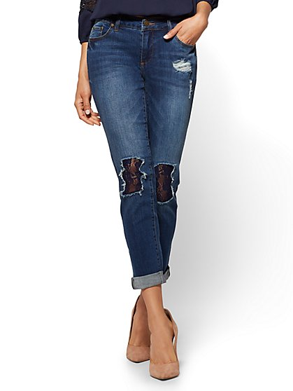 Soho Jeans - Lace-Accent Destroyed Boyfriend - Medium Blue Wash - New York & Company