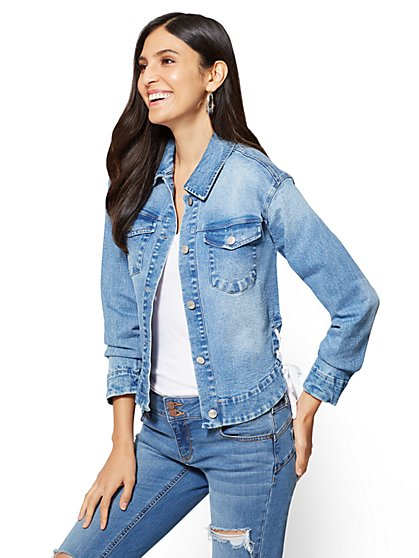 Soho Jeans - Lace-Up Denim Jacket - Medium Blue Wash  - New York & Company
