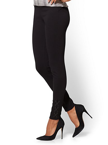 Soho Jeans - Lace-Up Legging - Ponte - Black - New York & Company