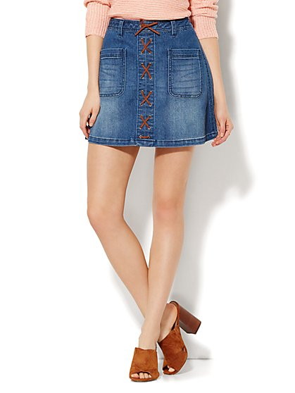 Soho Jeans - Lace-Up Mini Skirt - Theatrical Blue Wash  - New York & Company