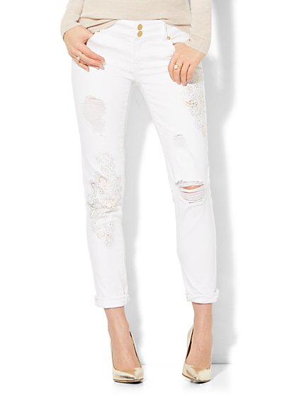 Soho Jeans - Metallic Foil-Embellished Destroyed Boyfriend - White - New York & Company