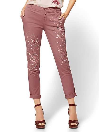 Soho Jeans - Painted Chino Boyfriend - Rose - New York & Company