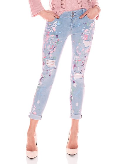 Soho Jeans - Painted & Destroyed Boyfriend Jean - Blue Premier Wash - New York & Company