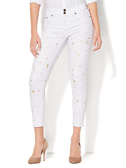 Soho Jeans - Painted High-Waist Ankle Legging - White - New York & Company