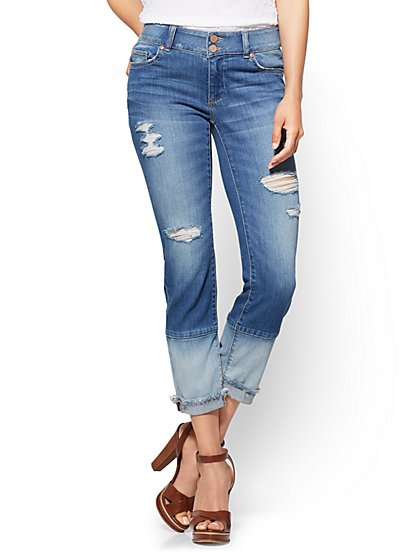 Soho Jeans - Panel-Hem Curvy Boyfriend - Blue Mix Wash - New York & Company