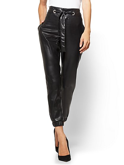 Soho Jeans - Paperbag-Waist Faux-Leather Pant  - New York & Company