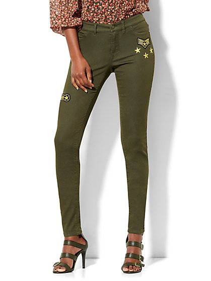 Soho Jeans - Patch-Accent Superstretch Legging - Woodland Green  - New York & Company