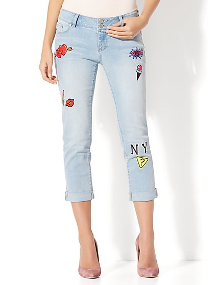 Soho Jeans - Patched Cropped Boyfriend - Blue Premier Wash - New York & Company