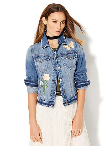 Soho Jeans - Patched Denim Jacket  - New York & Company