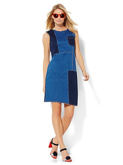Soho Jeans - Patchwork Shift Dress - Blue Daze Wash - New York & Company