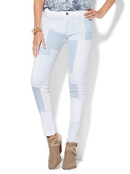 Soho Jeans - Patchwork SuperStretch Legging - Light Indigo  - New York & Company