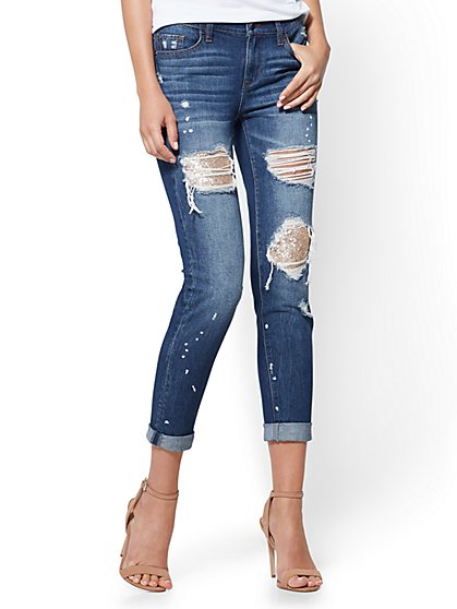 Soho Jeans - Sequin-Accent Destroyed Boyfriend - Dark Wash - New York & Company