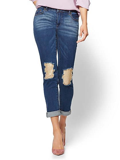 Soho Jeans - Sequin-Accent Destroyed Boyfriend Jean - Medium Blue Wash - New York & Company