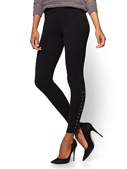 Soho Jeans - Side Lace-Up Legging - Black - New York & Company