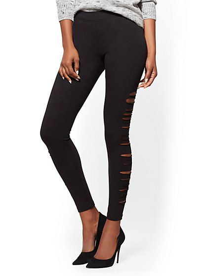 Soho Jeans - Side-Slit Legging - Black - New York & Company