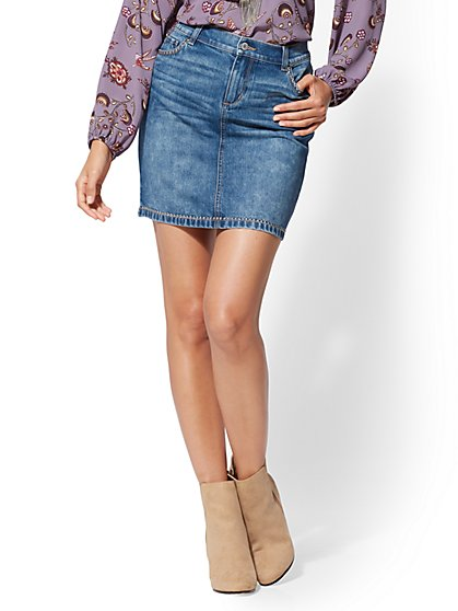Soho Jeans - Studded Denim Skirt - New York & Company