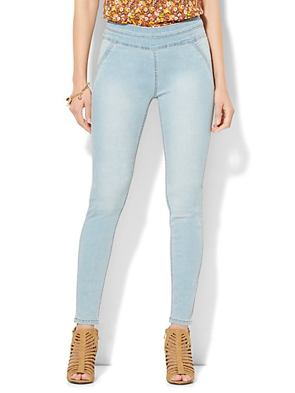 Soho Jeans - SuperStretch High-Waist Pull-On Legging - Blue Fling Wash  - New York & Company