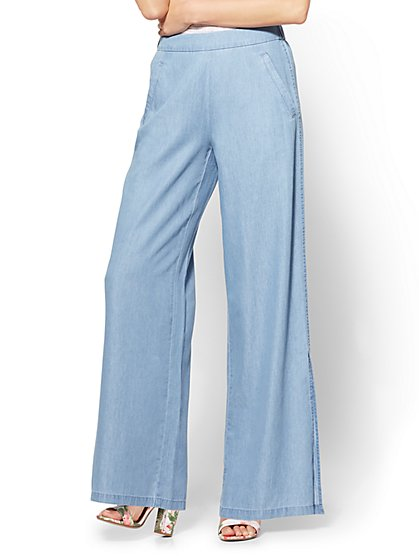 Soho Jeans - Ultra-Soft Chambray Palazzo Pant - Indigo Blue Wash - New York & Company