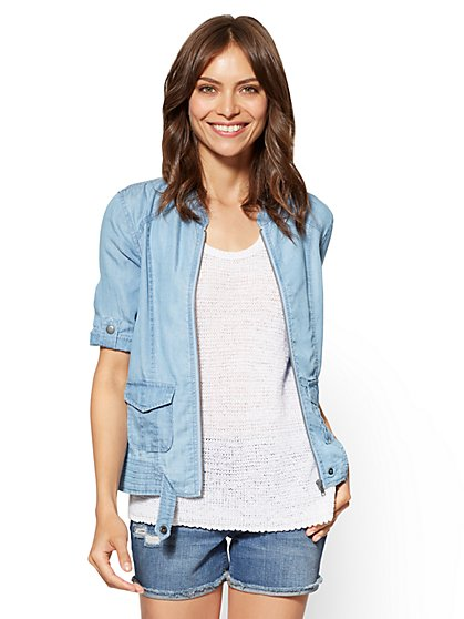 Soho Jeans - Zip-Front Jacket - Ultra-Soft Chambray - New York & Company