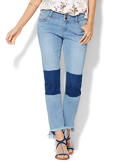 Soho Patchwork & Frayed Hem Boyfriend Jeans - Riverpass Blue Wash  - New York & Company