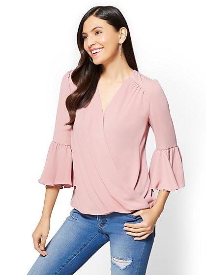 Soho Soft Shirt - Bell-Sleeve Wrap Blouse - New York & Company