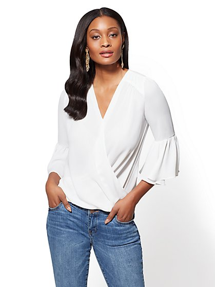 Soho Soft Shirt - Bell-Sleeve Wrap Blouse - New York & Company
