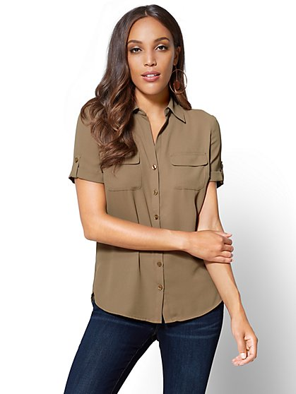 Soho Soft Shirt - Button-Tab Short-Sleeve  - New York & Company