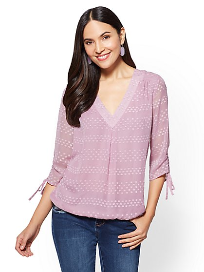 Soho Soft Shirt - Chiffon-Overlay V-Neck - New York & Company