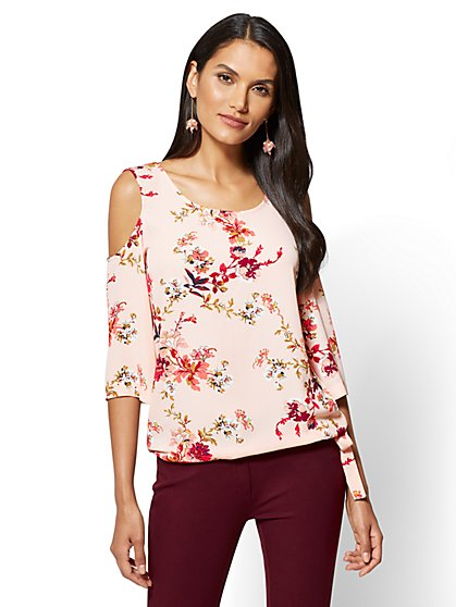 Soho Soft Shirt - Cold-Shoulder Blouse - Floral - New York & Company
