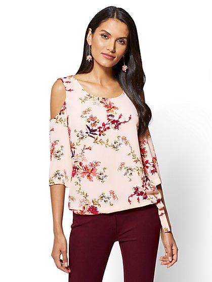 Soho Soft Shirt - Cold-Shoulder Blouse - Floral - New York & Company
