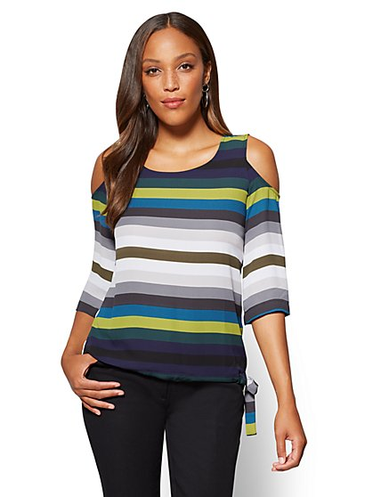 Soho Soft Shirt - Cold-Shoulder Blouse - Stripe - New York & Company