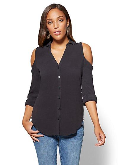 Soho Soft Shirt - Cold-Shoulder Blouse - New York & Company