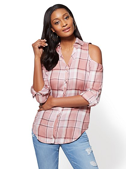 Soho Soft Shirt - Cold-Shoulder Shirt - Plaid - New York & Company