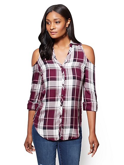 Soho Soft Shirt - Cold-Shoulder Shirt - Plaid - New York & Company