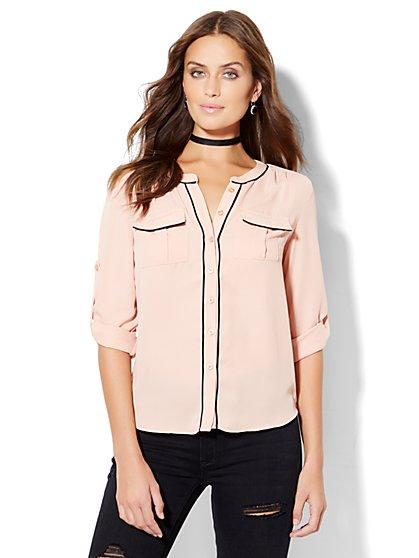 Soho Soft Shirt - Collarless - Piping Trim  - New York & Company