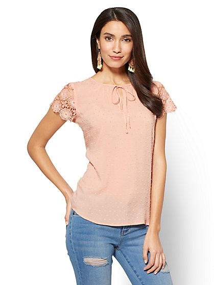 Soho Soft Shirt - Crochet-Trim Clip-Dot Blouse - New York & Company