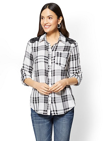 Soho Soft Shirt - Crochet-Trim Plaid - Black & White - New York & Company