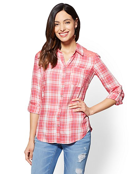 Soho Soft Shirt - Crochet-Trim Plaid - Pink - New York & Company