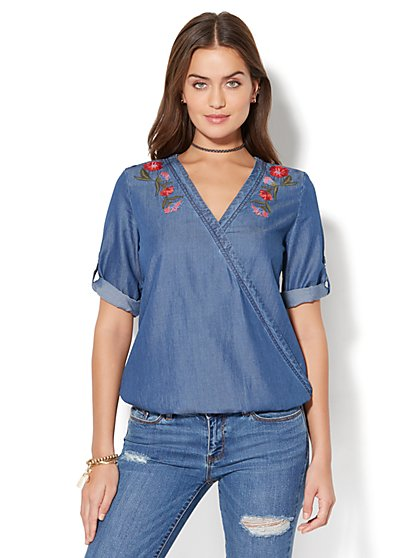 Soho Soft Shirt - Embroidered Wrap Peasant Blouse - Indigo Blue Wash - New York & Company