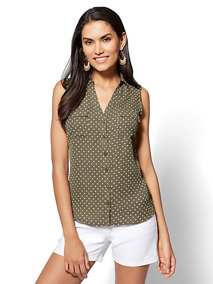 Soho Soft Shirt - Envelope Back - Polka Dot - New York & Company