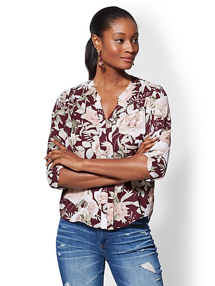 Soho Soft Shirt - Floral Split-Neck Blouse - New York & Company