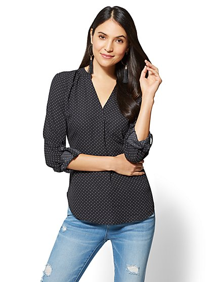 Soho Soft Shirt - Hi-Lo Blouse - Dot Print - New York & Company