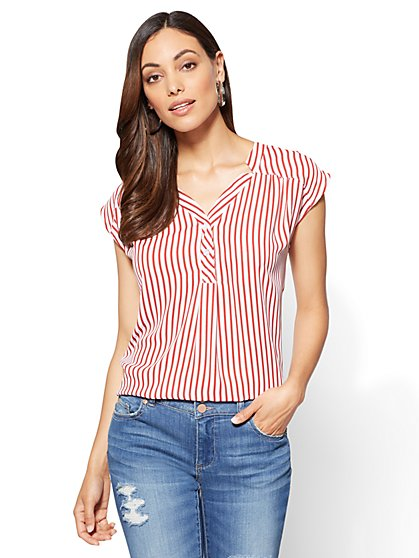 Soho Soft Shirt - Hi-Lo Split-Neck Blouse - Stripe - New York & Company