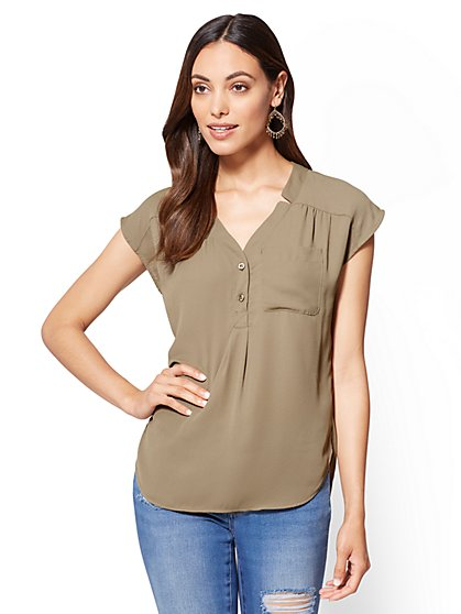 Soho Soft Shirt - Hi-Lo Split-Neck Blouse - New York & Company