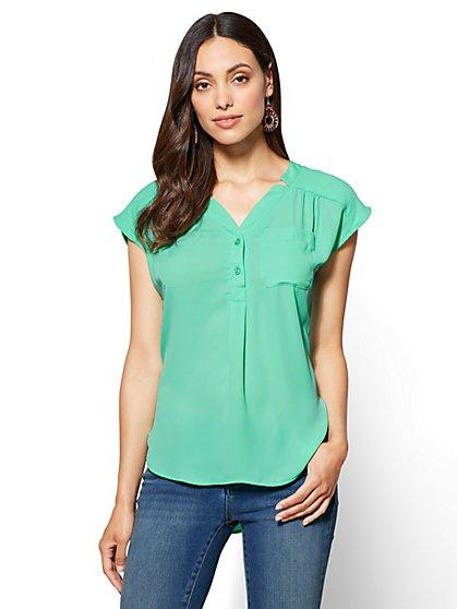 Soho Soft Shirt – Hi-Lo Split-Neck Blouse - New York & Company