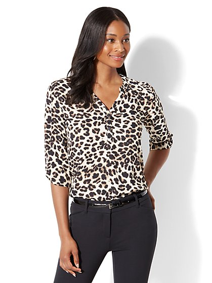 Soho Soft Shirt - Knot Sleeve - Leopard Print - New York & Company