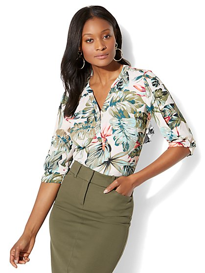 Soho Soft Shirt - Knot Sleeve - Palm Print - New York & Company
