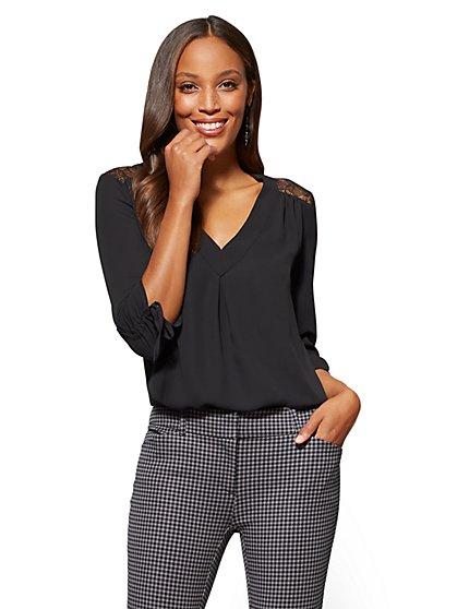 Soho Soft Shirt - Lace-Accent V-Neck - New York & Company