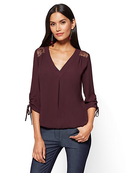 Soho Soft Shirt - Lace-Accent V-Neck - New York & Company