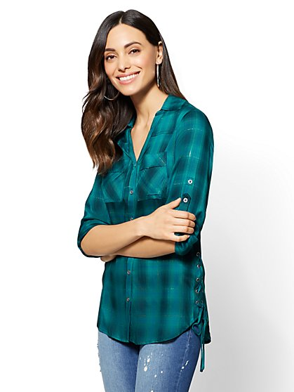 Soho Soft Shirt - Lace-Up Accent - Metallic Plaid - New York & Company